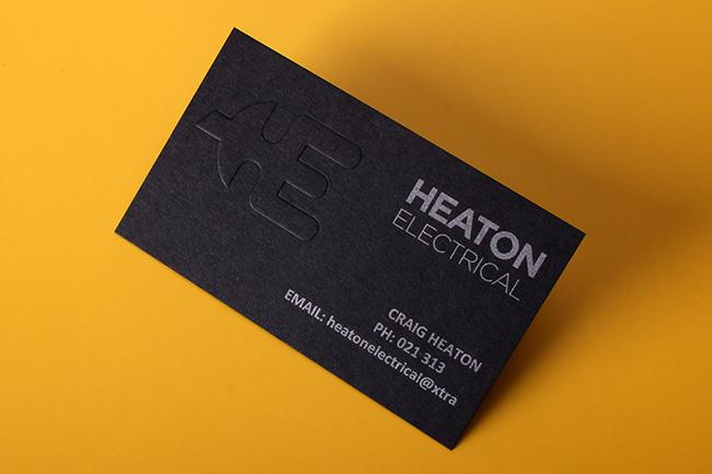 Heaton Electrical Craig Heaton Dark Emboss Business Card